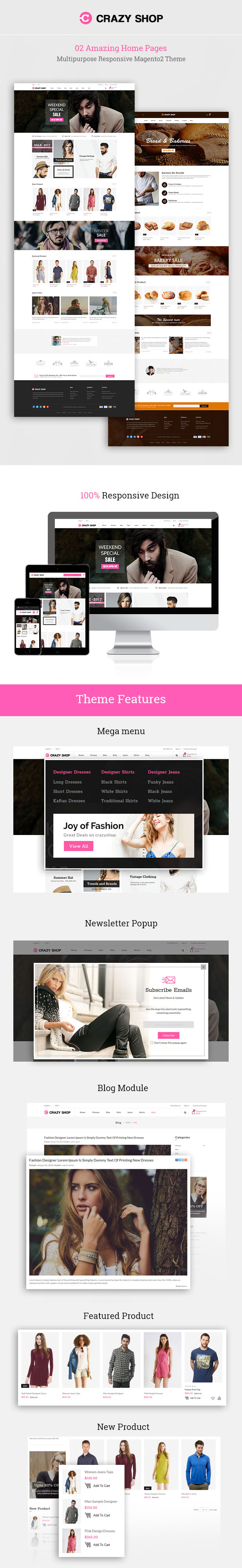 Crazyshop Multipurpose Responsive Magento2 Theme | Fashion Store | Watch Store | Food Stor - 1