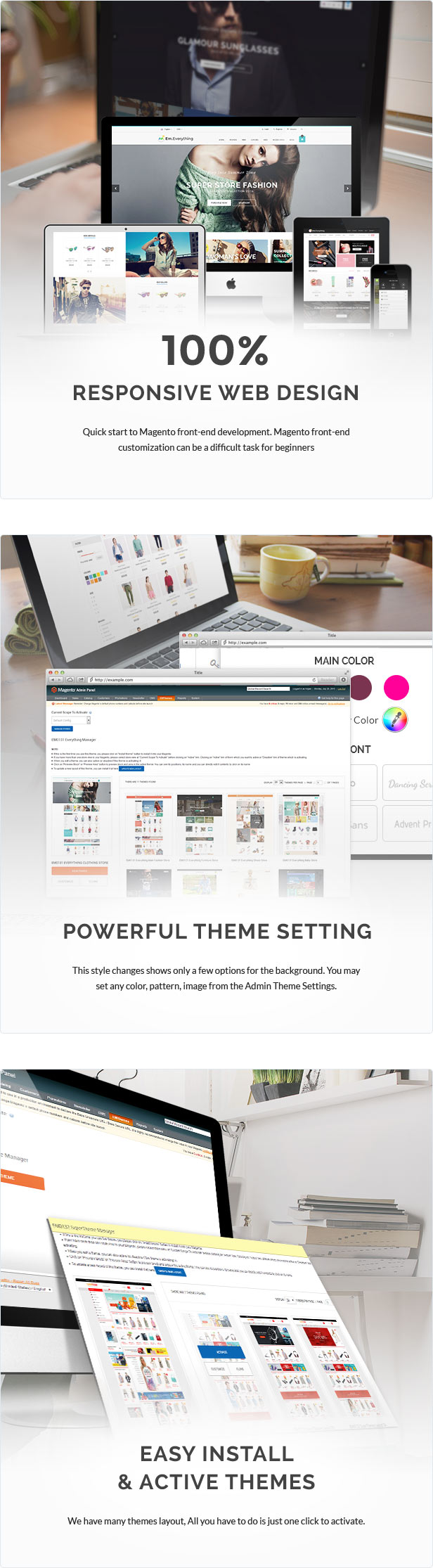 responsive web design, powerful theme setting, easy install and active themes