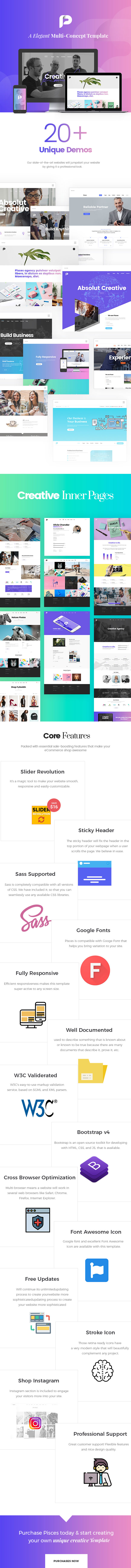 Pisces - Multi Concept Creative Bootstrap 4 Template - 1