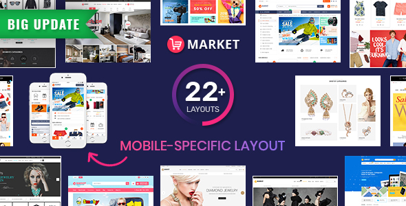 Download Market - Premium Responsive Magento 2 and 1.9 Store Theme with Mobile-Specific Layout (22 HomePages)