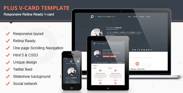 Download Plus Html V-card Template