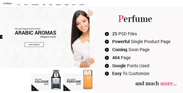 Download Perfume - eCommerce Shop PSD Template
