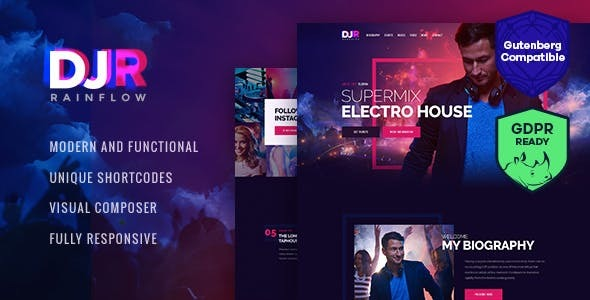 Download DJ Rainflow | A Music Band & Musician WordPress Theme